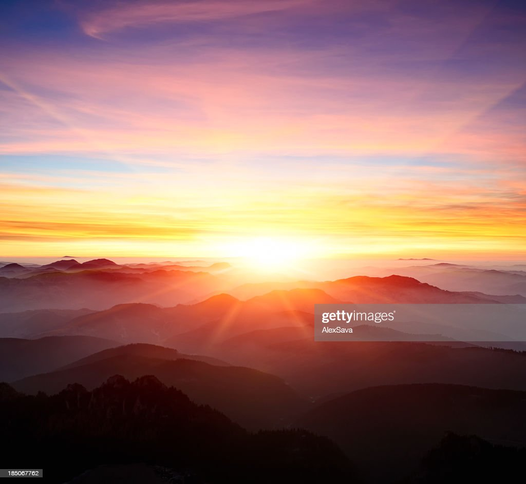 majestic sunrise over the mountains : Stock Photo