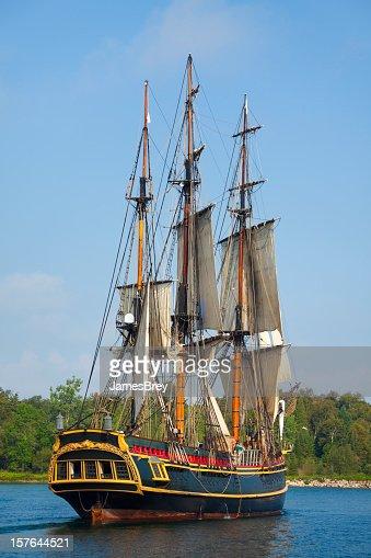 Majestic Tall Ship Sailing Into Port