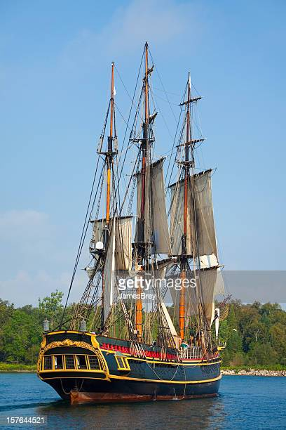 Majestic Tall Ship Sailing Into Port