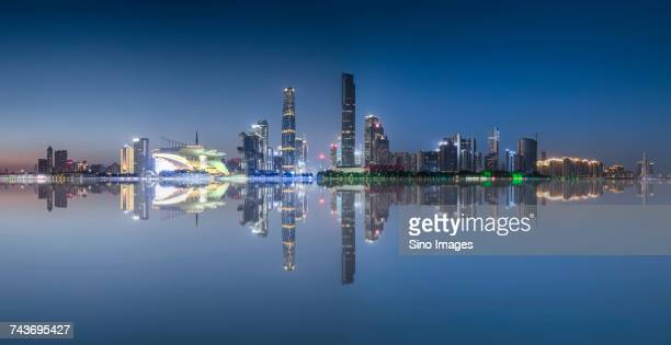 Majestic view at illuminated city center with Guangzhou TV Tower, Guangzhou, Guangdong, China