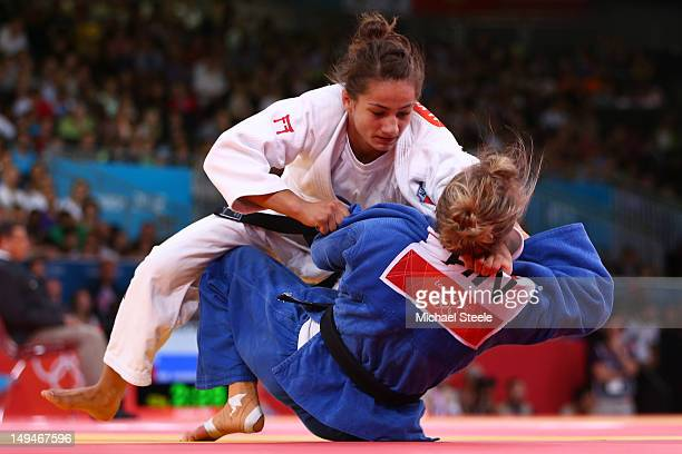 Majlinda Kelmendi of Albania competes against Jaana Sundberg of Finland in the Women's 52 kg Judo on Day two of the London 2012 Olympic Games at...