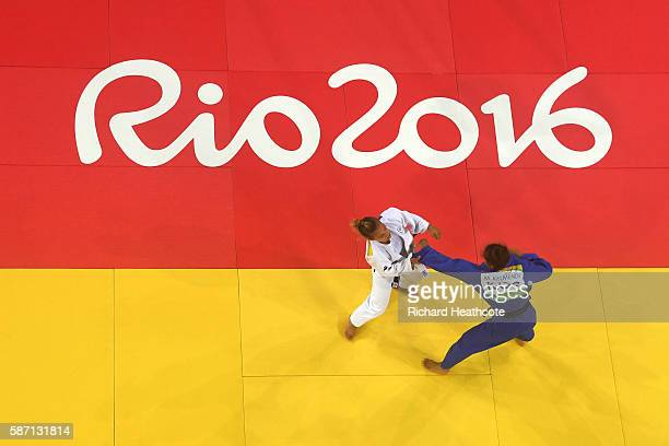 Majlinda Kelmendi of Kosovo and Odette Giuffrida of Italy compete during the Women's 52kg gold medal final on Day 2 of the Rio 2016 Olympic Games at...