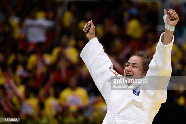 Majlinda Kelmendi of Kosovo celebrates the victory and gold medal in the 52 kg category during the World Judo Championships at Maracanazinho...