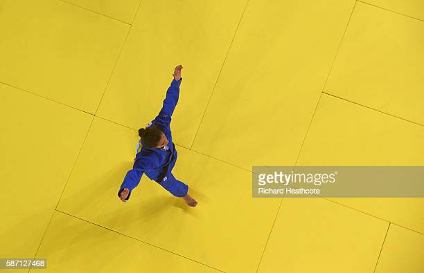 Majlinda Kelmendi of Kosovo celebrates winning the gold medal against Odette Giuffrida of Italy during the Women's 52kg gold medal final on Day 2 of...