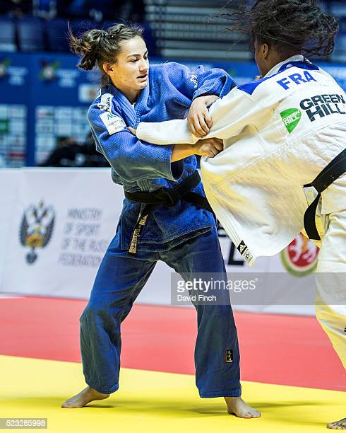 Majlinda Kelmendi of Kosovo defeated Priscilla Gneto of France for the u52kg gold medal during the 2016 Kazan European Judo Championships at the...
