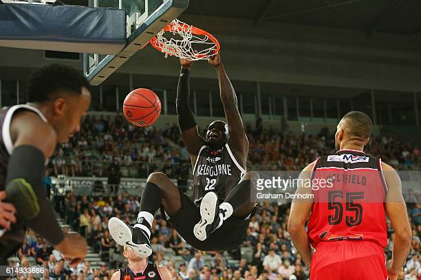 Majok Majok of Melbourne United dunks during the round two NBL match between Melbourne United and the Illawarra Hawks on October 16 2016 in Melbourne...