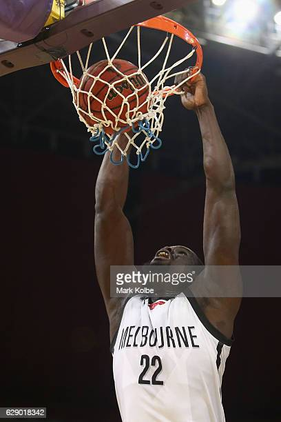 Majok Majok of United dunks during the round 10 NBL match between the Sydney Kings and Melbourne United at Qudos Bank Arena on December 11 2016 in...