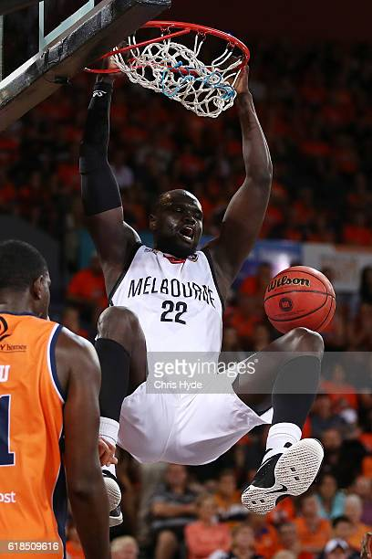 Majok Majok of United dunks during the round four NBL match between the Cairns Taipans and Melbourne United at Cairns Convention Centre on October 27...