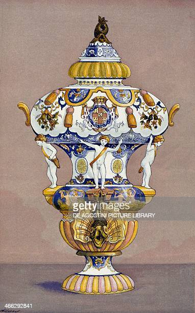 Majolica fountain in Rouen with coat of arms of MontmorencyLuxembourg 18th century illustration from the Dictionnaire de l'ameublement et de la...
