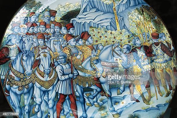 Majolica plate depicting The Procession of the Magi by Benozzo Gozzoli Gualdo Tadino handicrafts Umbria Italy