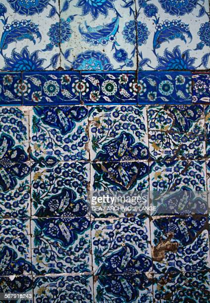 Majolica tiles decorated with floral motifs on Abu Ayyub alAnsari's turbe Mohammed's standard bearer Eyup Sultan Mosque complex Istanbul turkey Detail