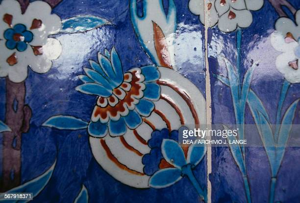 Majolica tiles decorated with floral motifs on the walls of the Rustem Pasha Mosque 15501556 built by the architect Mimar Sinan for the grand vizier...
