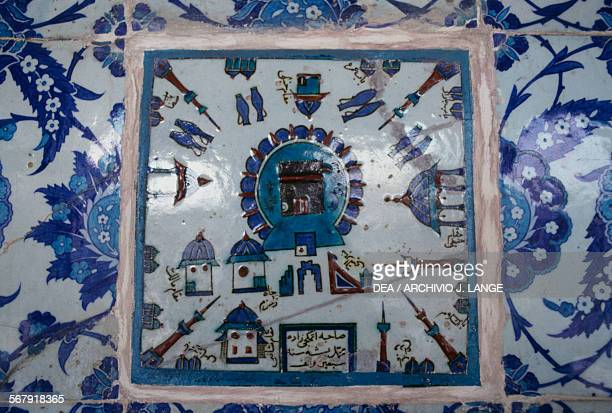 Majolica tiles depicting Mecca on the walls of the Rustem Pasha Mosque 15501556 built by the architect Mimar Sinan for the grand vizier Rustem Pasha...