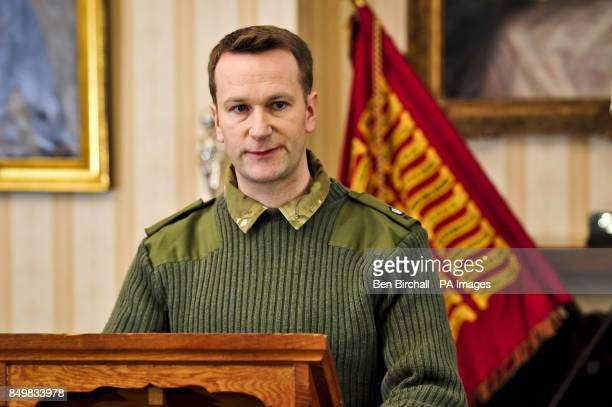 Major Andy Parker speaks at a press conference at Buller Barracks Aldershot which the family of Lance Corporal James Ashworth attended as he is...
