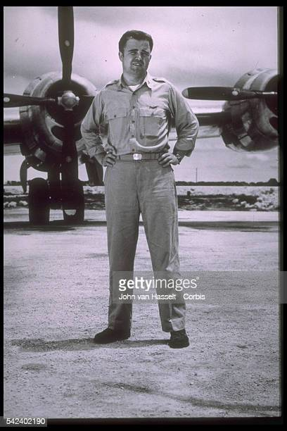 Major Charles Sweeney in front of his B29 He's the man who dropped the Abomb on Nagasaki