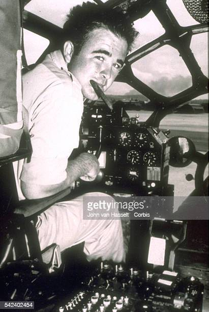 Major Charles Sweeney in his B29 cockpit