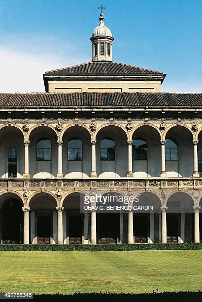 Major cloister of the former Major Hospital 17th century today the University Milan Lombardy Italy