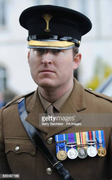 Major David Bevan after the funeral service in Pencoed of Lance Sergeant Tobie Fasfous who was killed in a blast in Afghanistan