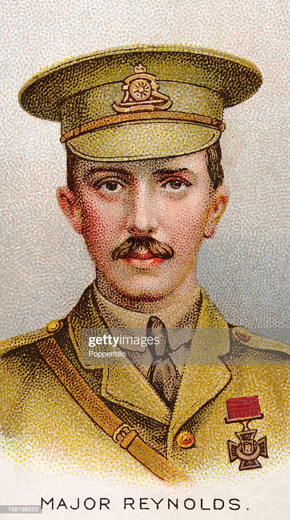 Major Douglas Reynolds of the 37th Battery RFA, who was awarded the Victoria Cross during World War One, featured on a vintage cigarette card published in 1915. At Le Cateau, on 26th August 1914 he took up two teams and limbered up two guns under heavy Artillery and Infantry fire, and though the enemy was within 100 yards, he got one gun away safely. At Pisseloup, on 9th September he reconnoitred at close range, discovered a battery which was holding up the advance and silenced it. He was severely wounded 15th September 1914.