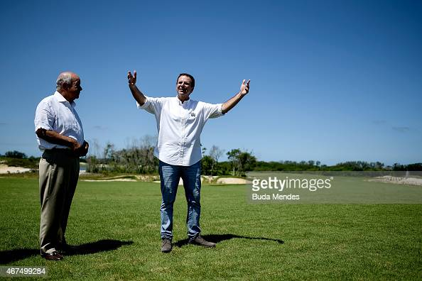 Major Eduardo Paes attends a press conference at the golf course for the Rio 2016 Olympic Games in the Barra da Tijuca neighborhood on March 25 2015...