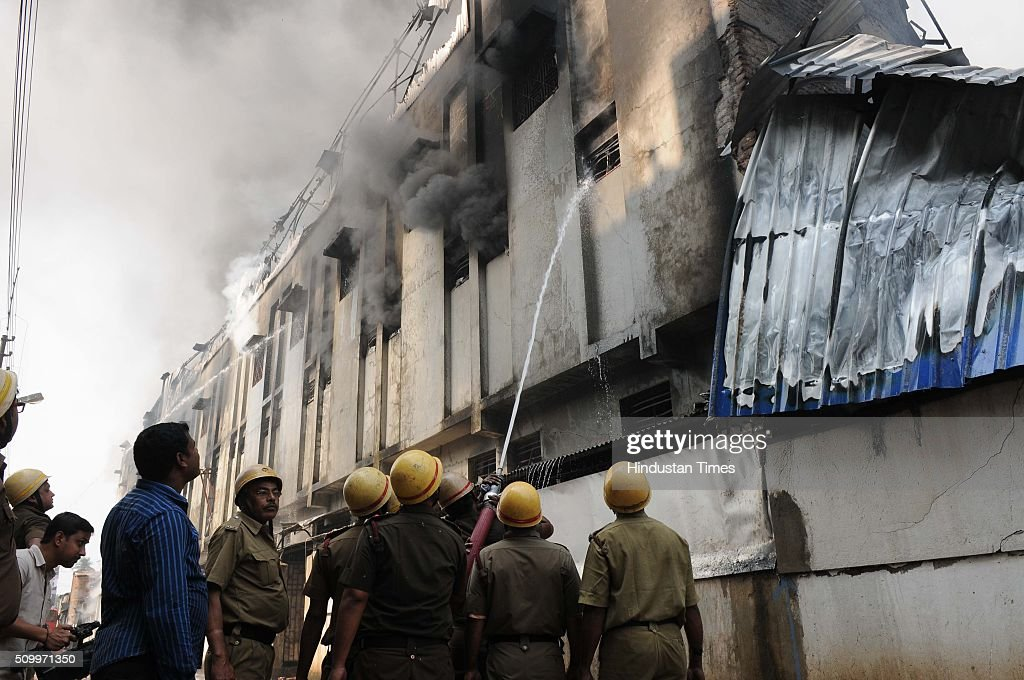 A major fire broke out at a plastic godown near Dunlop area, in Kolkata, India on February 13, 2016 in Kolkata, India. The godown caught fire around 11.30 AM and 25 fire tenders were fighting the flame.