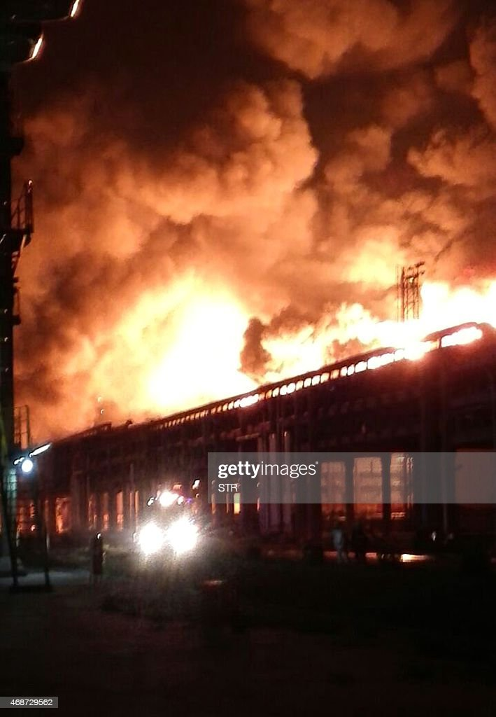 A major fire engulfs a paraxylene chemical plant after an explosion in Zhangzhou southeast China's Fujian province on April 6 2015 The plant produces...