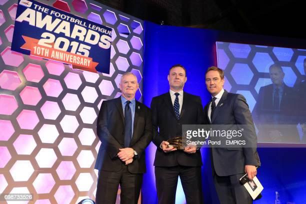Major Frank Buckley's great grandson Chris Jones collects the Contribution to League Football Award alongside The Football League chairman Greg...