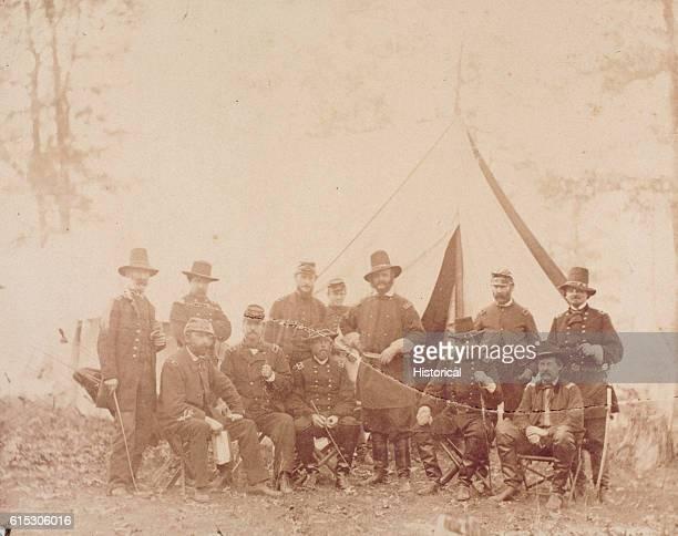 Major General Ambrose Burnside with his staff prior to the battle of Fredericksburg Standing are Brigadier General Marsena M Partick Brigadier...