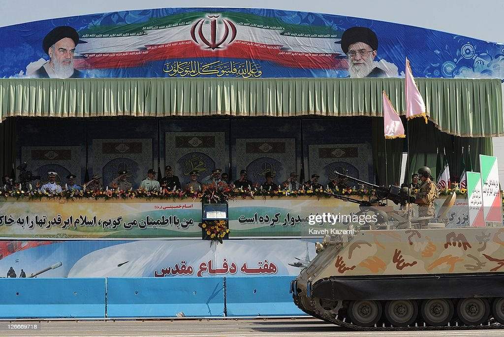 Major General Hassan Firoozabadi salutes alongside other military commanders as they observe armoured vehicles during a parade commemorating the 31st anniversary of Iran-Iraq war on September 22, 2011 in Tehran, Iran. Iran is holding military parades in Tehran and other parts of the country on the first day of the Sacred Defence Week. Tehran's parade began to the north of Imam Khomeini's mausoleum providing the army, Islamic Revolution Guards Corps, Law Enforcement Force and Basij with an opportunity to display their state of military preparedness, in which armaments and indigenously built military equipment including Shahab missiles, unmanned aircrafts, Zulfaqar tanks, and a variety of rapid fire machine guns were showcased.