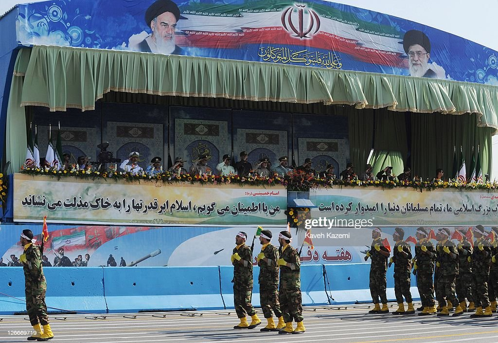 Major General Hassan Firoozabadi salutes alongside other military commanders as they observe a parade commemorating the 31st anniversary of Iran-Iraq war on September 22, 2011 in Tehran, Iran. Iran is holding military parades in Tehran and other parts of the country on the first day of the Sacred Defence Week. Tehran's parade began to the north of Imam Khomeini's mausoleum providing the army, Islamic Revolution Guards Corps, Law Enforcement Force and Basij with an opportunity to display their state of military preparedness, in which armaments and indigenously built military equipment including Shahab missiles, unmanned aircrafts, Zulfaqar tanks, and a variety of rapid fire machine guns were showcased.