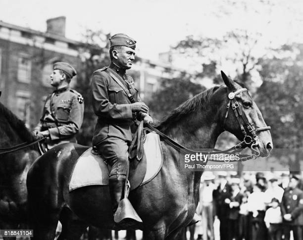 Major General John A Lejeune of the United States Army during a parade of the 2nd Infantry Division of which he is the commander circa 1919
