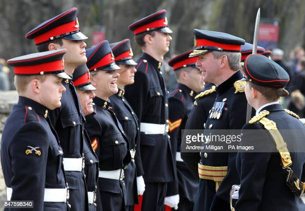 Major General Nick Eeles General Officer Commanding the Army in Scotland and Governor of Edinburgh Castle reviews Gunners from 207 Battery 105...