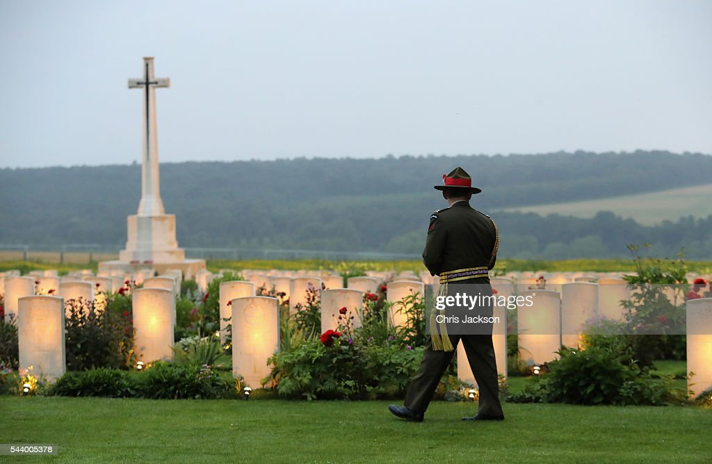 Major General Peter Kelly, Head of the New Zealand Forces takes part in a vigil at Thiepval Memorial to the Missing of the Somme during Somme Centenary Commemorations on June 30, 2016 in Thiepval, France.
