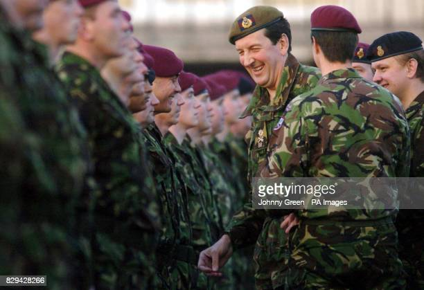 Major General Sebastian Roberts the Army's commander for the London district presents Gulf War Medals to the members of D Squadron of the Household...
