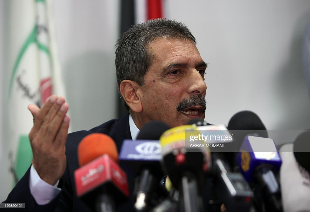 Major General Tawfiq Tirawi, the head of the Palestinian inquiry team into the death of the late Palestinian leader Yasser Arafat, speaks to reporters during a press conference in the West Bank city of Ramallah, on November 24, 2012. The body of Arafat will be exhumed on November 27 to undergo poison tests, Tirawi said. Rumours and speculation have surrounded Arafat's death ever since a quick deterioration of his condition saw him pass away at the Percy military hospital in suburban Paris in November 2004 at the age of 75.