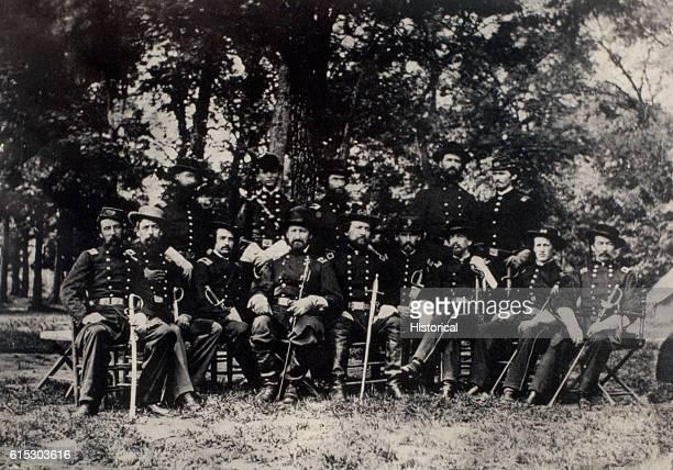 Major General William S Rosecrans and his staff Left to right are Lieutenant Colonel Arthur C Ducat Brigadier General James Barnett Brigadier General...