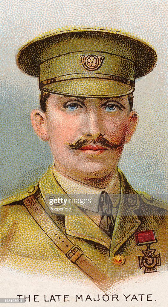 Major George Yate of the 2nd Battalion King's Own Yorkshire Light Infantry, who was awarded the Victoria Cross during World War One, featured on a vintage cigarette card published in 1915. Major Yate was commanding a company, one of two, that had remained to the end in the trenches on the 26th August, 1914, at Le Cateau in France. When all the officers were killed or wounded, and their ammunition finished, he led the remaining 19 survivors in a charge against the enemy. He was severely wounded in this charge and was eventually captured by the Germans and taken eventually to a prison camp. It was here at Targau POW Camp that he died on the 20th September 1914.