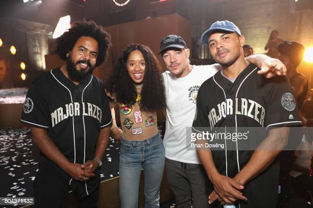 Major Lazer and Kitty Cash attend Bacardi X The Dean Collection Present No Commission Berlin on June 29 2017 in Berlin Germany