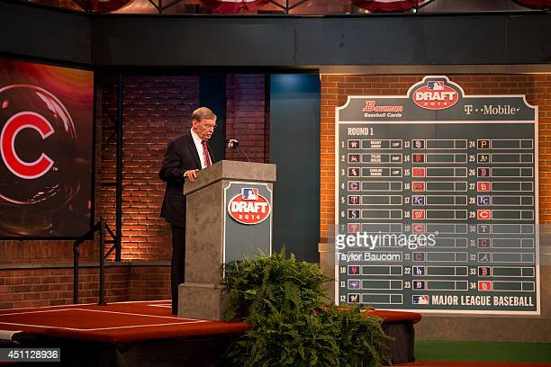 Major League Baseball Commissioner Allan H 'Bud' Selig speaks at the podium during the 2014 MLB Player Draft at the MLB Network Studios in Secaucus...