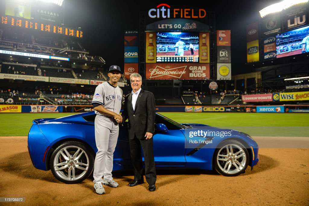 Major League Baseball Commissioner Allan H. (Bud) Selig presents American League All-Star Mariano Rivera #42 of the New York Yankees with the Most Valuable Player award after the 84th MLB All-Star Game at Citi Field on Tuesday, July 16, 2013 at Citi Field in the Flushing neighborhood of the Queens borough of New York City.