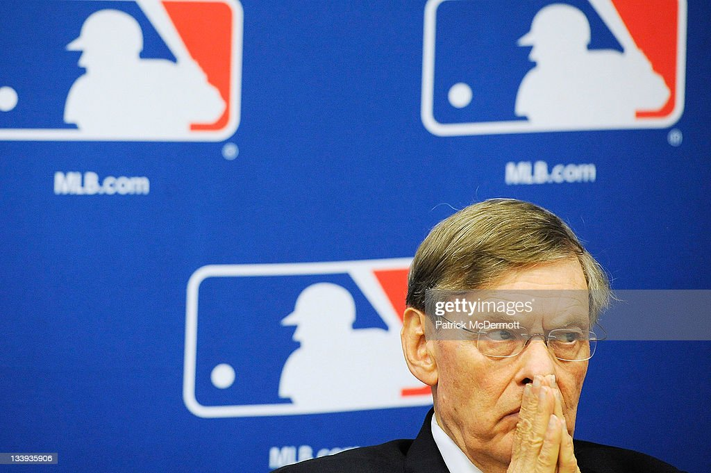 Major League Baseball Commissioner <a gi-track='captionPersonalityLinkClicked' href=/galleries/search?phrase=Bud+Selig&family=editorial&specificpeople=211472 ng-click='$event.stopPropagation()'>Bud Selig</a> attends a news conference at MLB headquarters on November 22, 2011 in New York City. Selig announced a new five-year labor agreement between Major League Baseball and the Major League Baseball Players Association.
