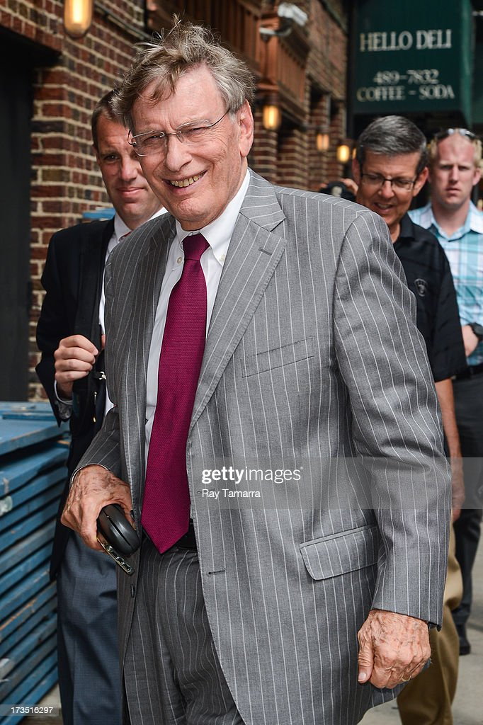 Major League Baseball Commissioner <a gi-track='captionPersonalityLinkClicked' href=/galleries/search?phrase=Bud+Selig&family=editorial&specificpeople=211472 ng-click='$event.stopPropagation()'>Bud Selig</a> enters the 'Late Show With David Letterman' taping at the Ed Sullivan Theater on July 15, 2013 in New York City.