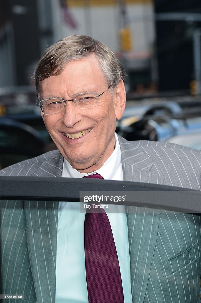 Major League Baseball Commissioner <a gi-track='captionPersonalityLinkClicked' href=/galleries/search?phrase=Bud+Selig&family=editorial&specificpeople=211472 ng-click='$event.stopPropagation()'>Bud Selig</a> leaves the 'Late Show With David Letterman' taping at the Ed Sullivan Theater on July 15, 2013 in New York City.