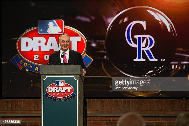 Major League Baseball Commissioner Robert D Manfred Jr announces the third pick of the 2015 Major League Baseball FirstYear Player Draft at MLB...