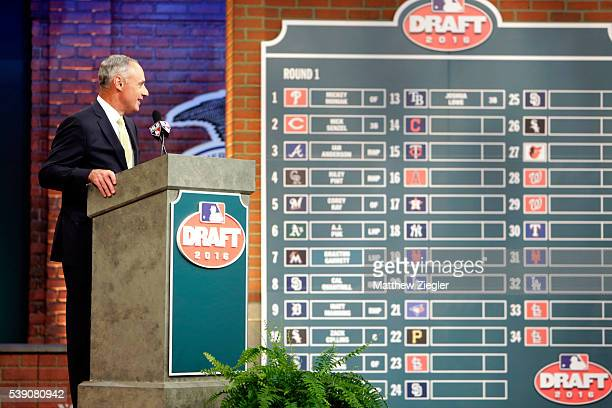 Major League Baseball Commissioner Robert D Manfred Jr looks on during the 2016 Major League Baseball FirstYear Player Draft at the MLB Network on...