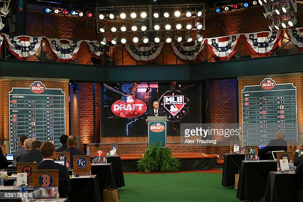 Major League Baseball Commissioner Robert D Manfred Jr speaks during the 2016 Major League Baseball FirstYear Player Draft at the MLB Network on...