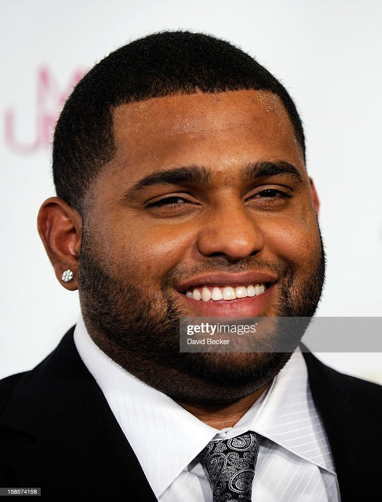 Major League Baseball player and pageant judge Pablo Sandoval of the San Francisco Giants arrives at the 2012 Miss Universe Pageant at Planet Hollywood Resort & Casino on December 19, 2012 in Las Vegas, Nevada.