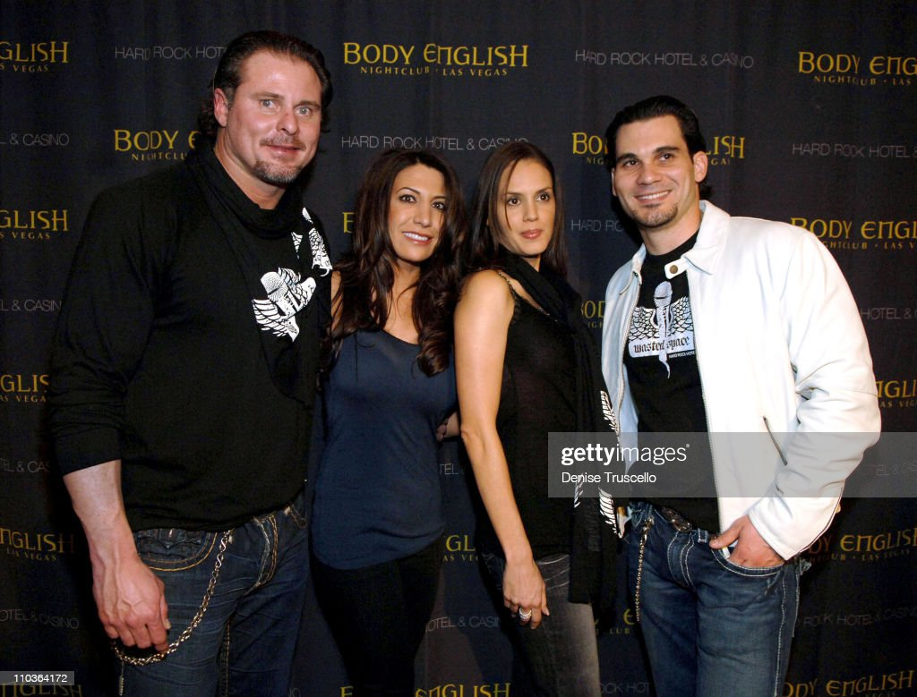 Major League baseball player Jason Giambi Kristen Giambi Shannon McCormack and Body English partner Cory McCormack arrive at Vince Neil and Cory's...
