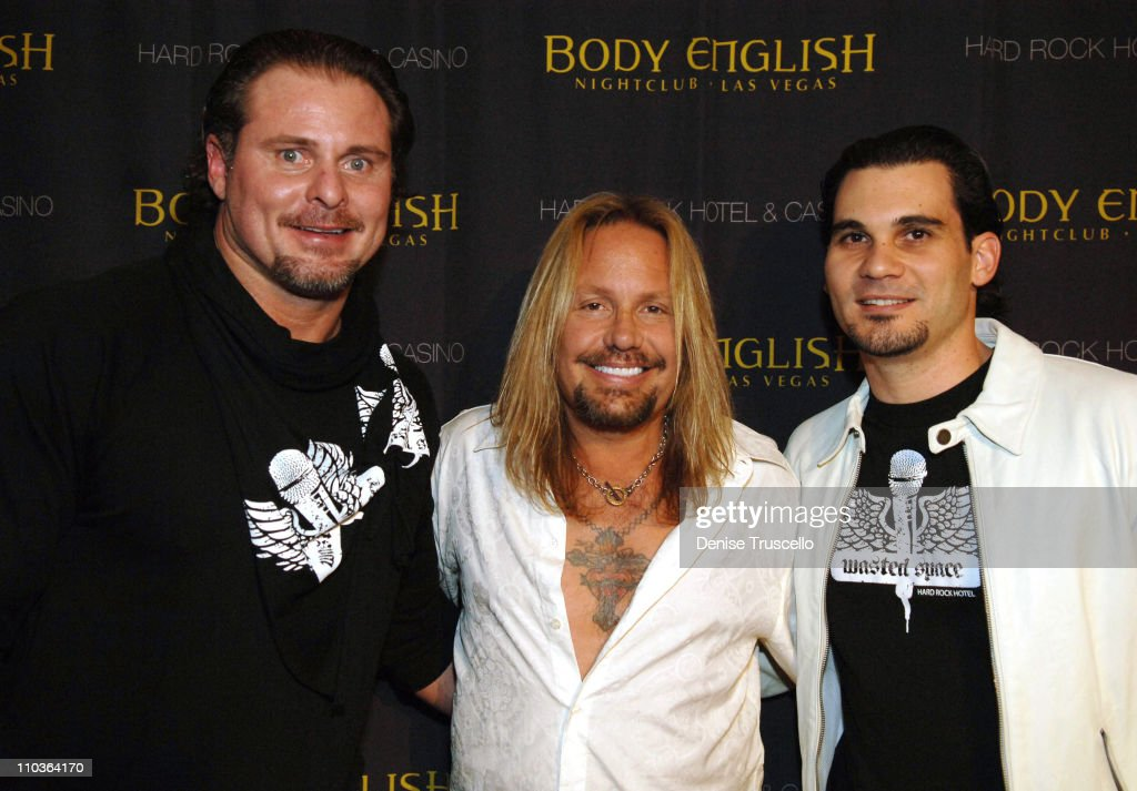 Major League baseball player Jason Giambi singer Vince Neil and Body English partner Cory McCormack arrive at Vince and Cory's birthday party at Body...