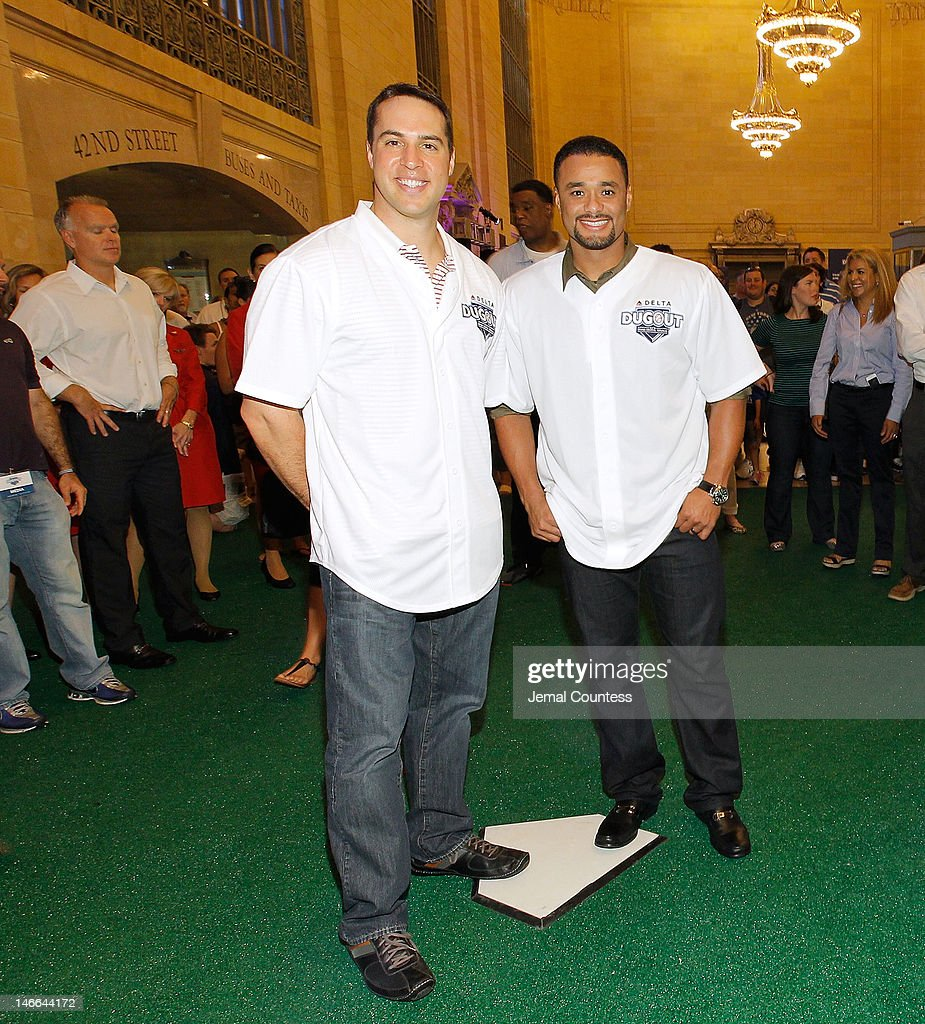 Major league Baseball players Mark Teixeira and Johan Santana attend the opening of the Delta Dugout at Vanderbilt Hall at Grand Central Terminal on June 21, 2012 in New York City.